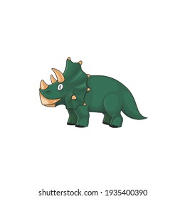 Kind triceratops, horned dino of jurassic period isolated green prehistoric animal. Vector triceratops dinosaur with three horns on face. Dino with epoccipital fringe, herbivorous ceratopsid dinosaur