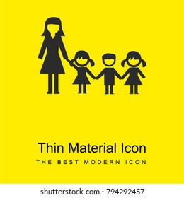 Kindergarden children and teacher bright yellow material minimal icon or logo design