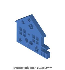 Kindergarden isometric left top view 3D icon
