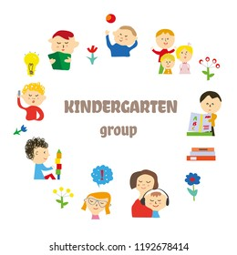 Kindergarten Background Card Invitation Kids Playing Stock Vector