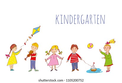 Kindergarten banner with kids playing outdoor, sketchy style. Vector graphic illustration