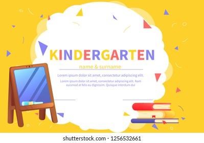 kindergarten certificate templates for student kids design diploma learning and education vector cartoon illustration