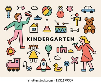 Kindergarten children characters and toys icons. flat design style minimal vector illustration.