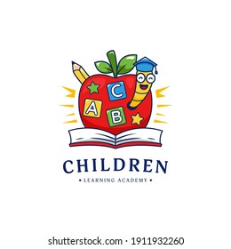 Kindergarten children learning school academy logo with apple and golden worm illustration logo cartoon style