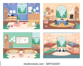 Kindergarten class with no people flat color vector illustration set. Playroom for children with tables, chairs. Preschool playroom 2D cartoon interior with furniture and toys on background collection