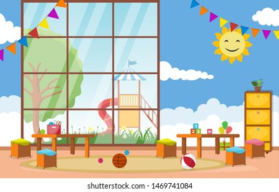 Kindergarten Classroom Interior Children Kids School Toys Furniture Vector Illustration