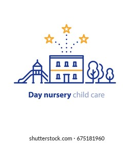 Kindergarten concept, day care nursery for children, vector line icon