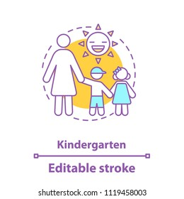 Kindergarten concept icon. Preschool education idea thin line illustration. Mother with two kids. Motherhood. Vector isolated outline drawing. Editable stroke