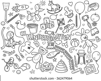 Kindergarten design colorless set vector illustration. Coloring book. Black and white line art