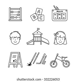 Kindergarten education icons thin line art set. Girl, boy, abacus, abc blocks, calendar, playground slide and other equipment. Black vector symbols isolated on white.