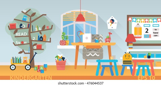 Kindergarten education interior. Learning and study place horizontal back banner. Children school vector background. Preschool classroom with desk, chairs and toys. Flat style cartoon illustration.