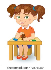 Kindergarten girl making plasticine figures cartoon vector illustration isolated on white background.