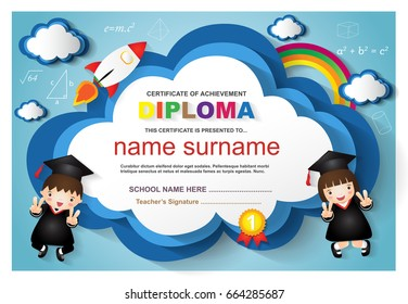 kindergarten graduation certificates background design templates.Diploma with funny children