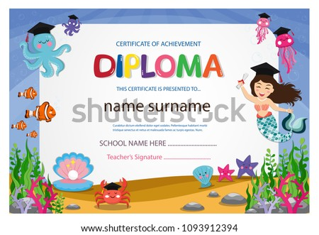 Kindergarten Graduation Certificates Background Design ...
