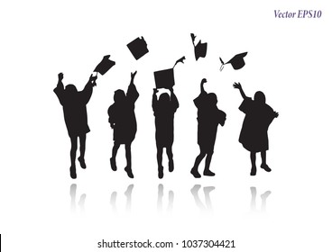 Kindergarten graduation. Silhouette of child throwing caps in air. Girl in graduation gown jumping enjoyable, isolated on white background. Student success learning education concept. Vector EPS10.