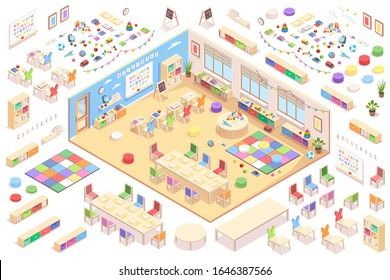 Kindergarten interior constructor, isometric vector elements of furniture, education supplements and toys. Kindergarten isometry cross-section details of playroom table, chair, blackboard and shelves