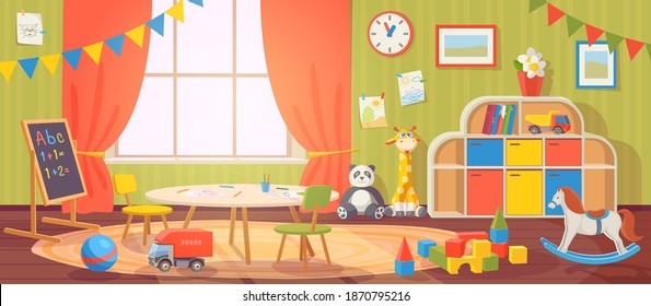 Kindergarten interior. Daycare nursery with furniture and kid toys. Preschool child room for playing, activity and learning, vector cartoon. Blackboard and table with chairs for children - Shutterstock ID 1870795216
