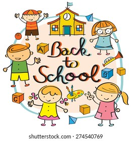 Kindergarten, Kids Back to School Heading, Drawing Style, Preschool, Education, Learning and Study Concept