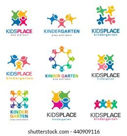Kindergarten and kids logo vector set