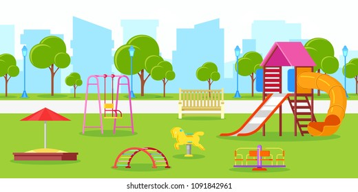 Kindergarten or kids playground in city park. Vector urban life, leisure and outdoor activities illustration. Summer or spring cityscape.