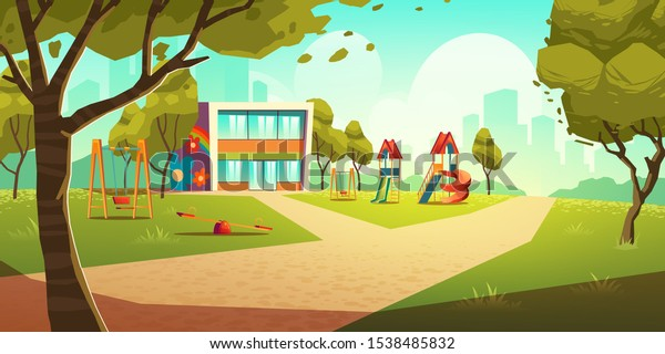 Kindergarten kids playground, empty area for children with nursery school colorful building, green grass, slides and swings for playing and recreation fun at summer time Cartoon vector illustration