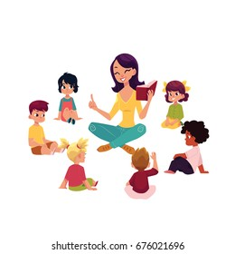 Kindergarten kids sitting around teacher reading a book, cartoon vector illustration isolated on white background. Female teacher read book to kindergarten kids sitting around, listening with interest