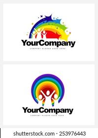 Kindergarten Logo Design. Vector design elements for a kindergarten with rainbow and kids