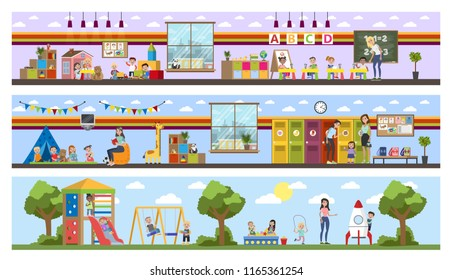 Kindergarten or nursery building interior with children. Preschool kids play with toys and study in classroom. Vector flat illustration