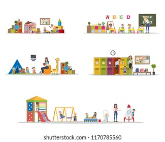 Kindergarten or nursery interior set with playing children. Preschool kids play with toys and study in classroom. Isolated vector flat illustration