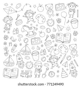 Kindergarten Nursery Preschool School education with children Doodle pattern Kids play and study Boys and girls kids drawing icons Space, adventure, exploration, imagination concept