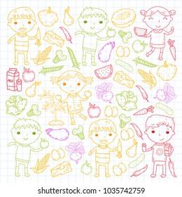 Kindergarten Nursery Preschool School kids eat healthy food Boys and girls with fruits and vegetables. Children cafe, menu, restaurant. Vitamins.