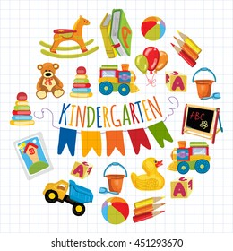 Kindergarten Play and study Vector images