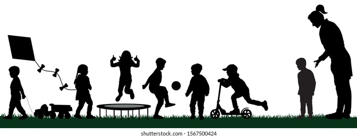 Kindergarten with playing children. Socialization of children. Playground with kids silhouette vector. Mom pushes her son to play with the children