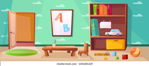 Kindergarten playroom with games, toys, abc and open door.  Elementary school class with table for studying  children or kids. Wallpaper with cloud illustration.