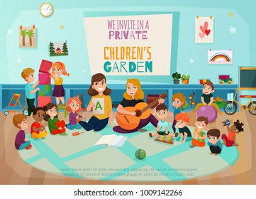 Kindergarten poster with kids game room and playing symbols flat vector illustration