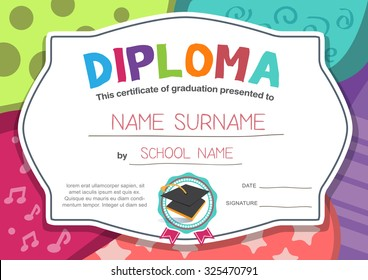 kindergarten Preschool Elementary school Kids Diploma certificate background design template