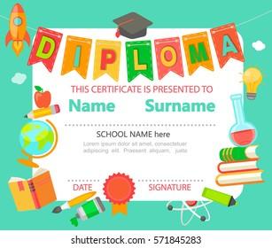 Kindergarten Preschool Elementary school Kids Diploma certificate background design template - vector illustration.