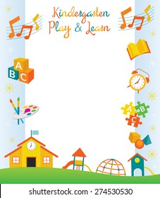 Kindergarten, Preschool,  Kids Objects Border and Frame, Education, Learning and Study Concept