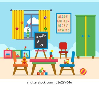 Kindergarten preschool playground. Children's table with toys, wardrobe, cubes and chalk board. Flat style vector illustration.