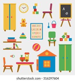 Kindergarten preschool playground icon set. Children's table, chairs, toys, wardrobe, cubes, chalk board, little house.  Flat style vector illustration.