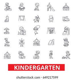 Kindergarten, preschool, teacher, nursery, playground, daycare, kids playing line icons. Editable strokes. Flat design vector illustration symbol concept. Linear signs isolated on white background