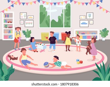 Kindergarten room flat color vector illustration. Children play in recreation room 2D cartoon faceless characters with toys, bookshelves, pink carpet and big window on background - Shutterstock ID 1807918306