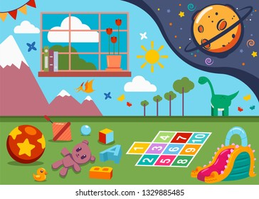 Kindergarten room with kids toys, window and painted walls. Child playroom vector cartoon illustration.