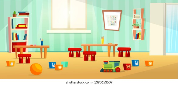Kindergarten room modern vector  illustration with furniture, sunlight from window and toys for kids. Nursery for kids, little children.  Flat style design. Preschool.