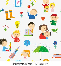 Kindergarten seamless pattern with kids, toys and activities. Vector graphic illustration