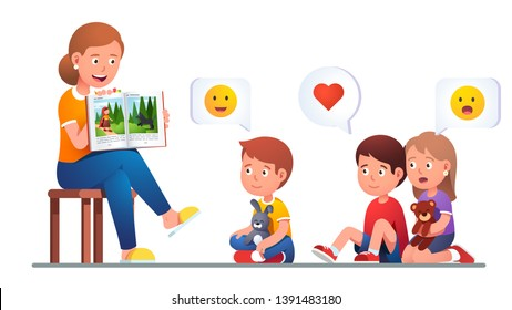 Kindergarten teacher reading to kids & telling Red Riding Hood and Big Bad Wolf story to children group showing book spread picture. Excited boys & girl listen tale. Flat vector character illustration