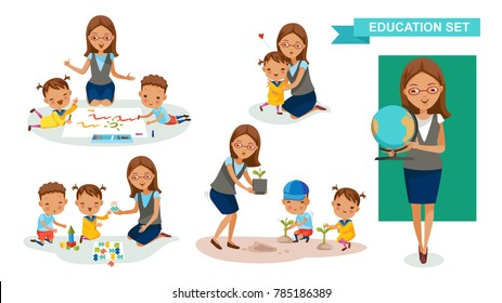 Kindergarten teacher Women of Education set. Drawing, jousting and puzzles, tree planting, hugs Student activity concept. cartoon character design. Vector illustrations  isolated on a white background