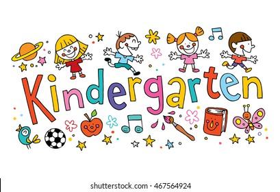 kindergarten unique hand lettering with kids