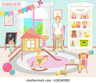 Kindergarten vector illustration. Flat design. Children's activity in the play room. Playing, education.