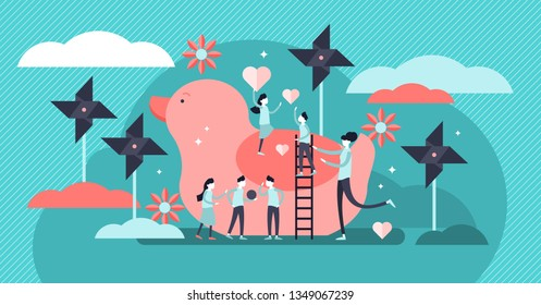 Kindergarten vector illustration. Flat tiny active children person concept. Educational elementary school for happy kids knowledge. Infant nursery outdoors playground with ball games and adult teacher